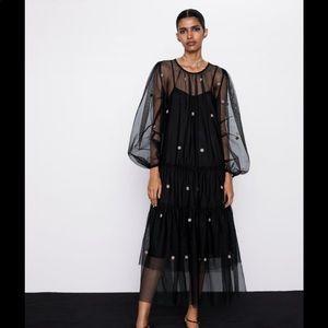 Zara NWOT tulle dot dress